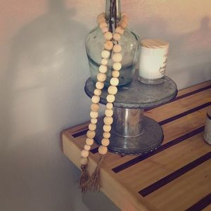 Natural Wooden Bead Garland with Tassels Long